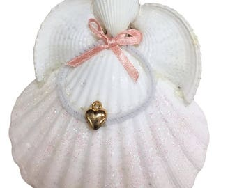 Sea Shell Angel Christmas Ornament With Gold Heart