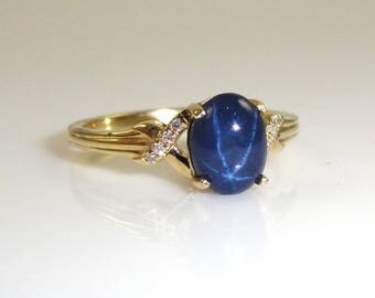 2.43 Carat Blue Star Sapphire And Diamond Ring in 14K Yellow Gold (144591)