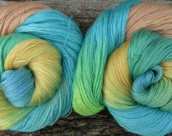 MERINO / TENCEL, 100 gms, Hand Dyed, Mollycoddle Yarns, Lacewight, 800 mts, 200 gms available, Indie dyer, Lace