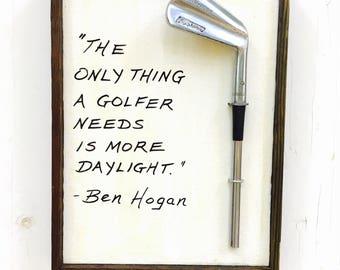 Golf Gift- Reclaimed Wood Golf Plaque- Ben Hogan- More Daylight
