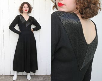 Vintage 80s Dress | 80s Black Lambswool Blend Sweater Dress with Black Beaded Trim | Small S Medium M