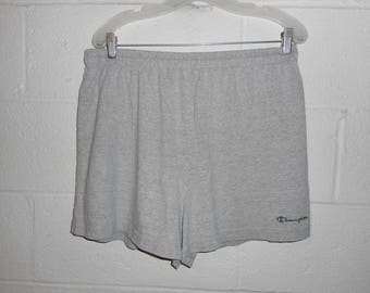 Vintage 80s 90s Heather Gray Champion Spell Out Script Cotton Shorts XL