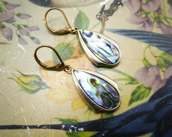 Vintage Abalone Earrings, Hooks