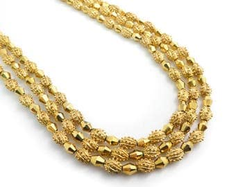 Vintage, Three Chain Necklace, Gold Tone Beads, STK115