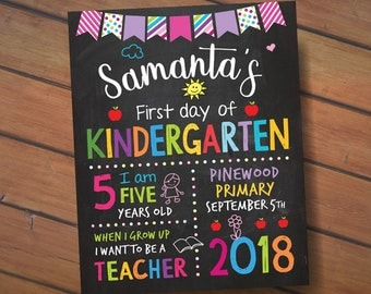 First Day of Kindergarten Chalkboard Sign, Back to school Printable sign, Personalized Preschool Grade Poster