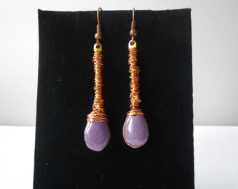"Earrings dangling purple ""Enamel and copper wire"" on antiqued copper support"
