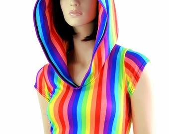 Vertical Rainbow Stripe Cap Sleeve Crop Hoodie w/Self-Lined Hood Rave Festival Clubwear - 151259