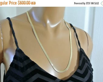 SALE 14K Gold Herringbone Necklace Made in Italy