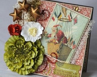Magic of Christmas, Santa, Hot Air Balloon, Christmas Card, Vintage Theme, Greeting Card, Handmade Card, Layered Card
