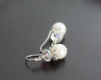 Swarovski earrings, Holiday earrings, Swarovski pearlescent white crystal pearl drop earrings, bridal earrings, Swarovski crystal jewelry