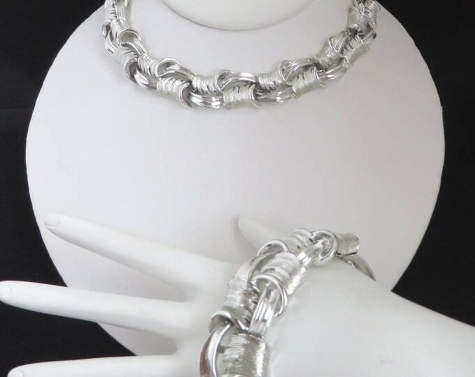 Lisner Necklace Bracelet Set, Vintage Chunky Silver Tone Links Signed Lisner Jewelry Set, Demi Parure