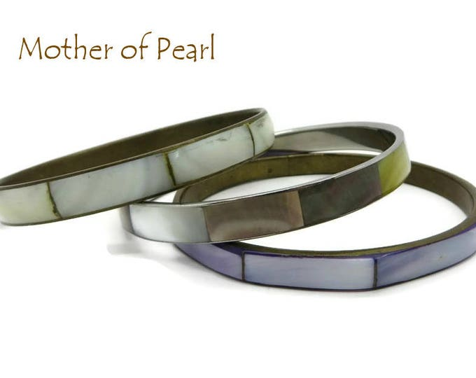Mother of Pearl Bracelets - Vintage MOP Inlay Bracelet Trio, Pastel Mother of Pearl Bangles, FREE SHIPPING