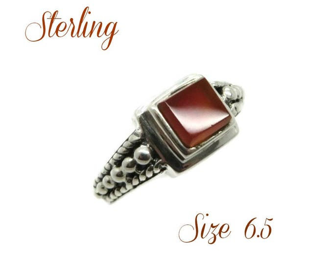 Sterling Silver Beaded Ring - Vintage Amber Glass Ring, Boho Hippie Jewelry, Gift Idea, Size 6.5