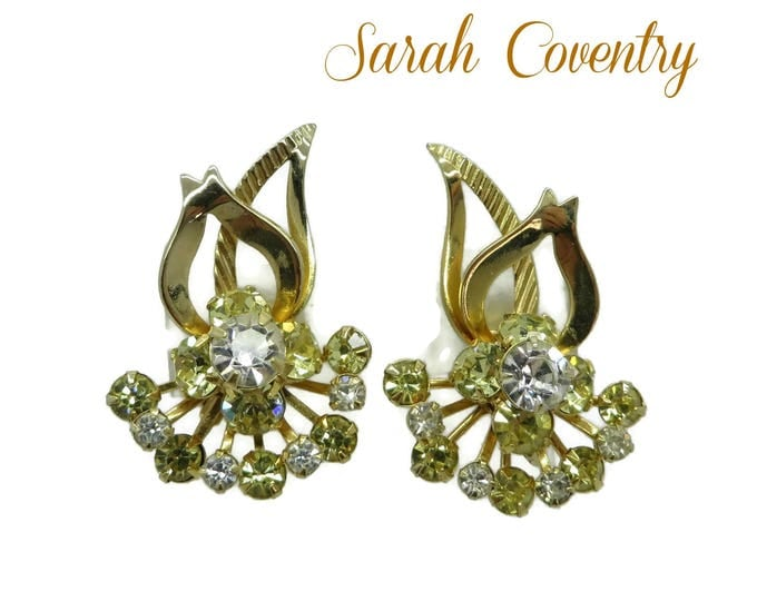 Sarah Coventry Monte Carlo Earrings, Gold Tone Rhinestone Clip-on Earrings Designer Signed Costume Jewelry Gift Idea