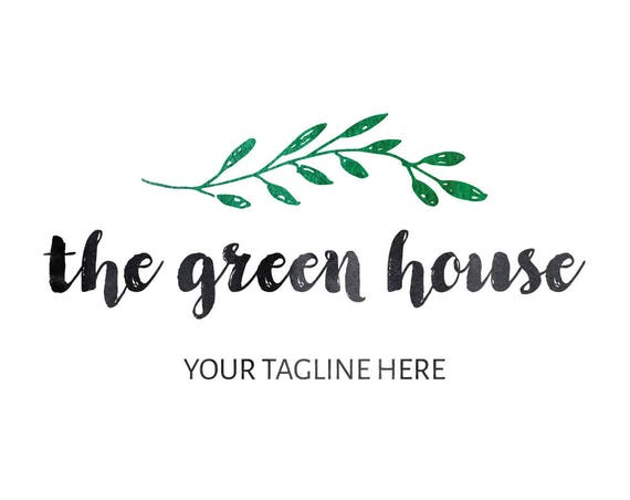 Premade Watercolor Branch Logo Design, Floral Logo Design, Green Leaf Logo Design, Calligraphic Logo Design for any Boutique or Branding