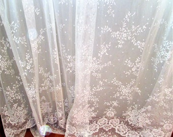 Sweet Pair of Long Lace Curtain Panels - Off White - 84 Inches Long
