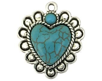 1 Silver Turquoise Heart Charm Pendant for Southwest Jewelry 30x26mm by TIJC SP1622