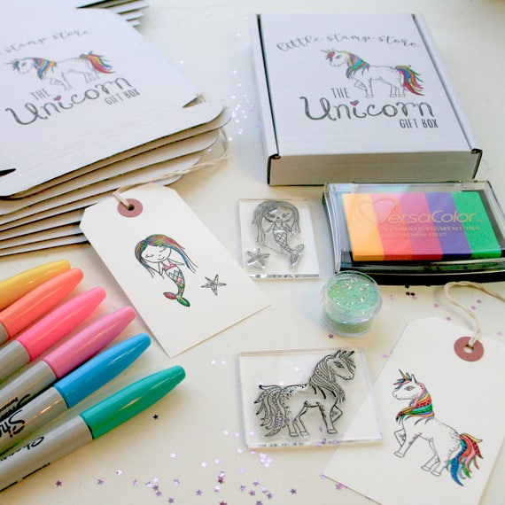 Unicorn Gift Box - Unicorn Gift Set - Unicorn Rubber Stamp - Rainbow Ink Pad - Gift for her - Little Stamp Store - Rubber Stamp Set