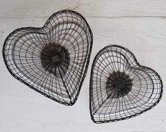 Hand Woven Wire Heart Baskets