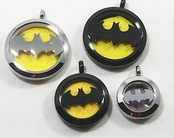 Superhero Diffuser Necklace - Black & Silver - Aromatherapy Necklace - Car Diffuser