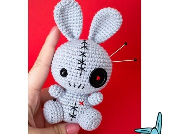 Rabbit Voodoo Doll - crochet amigurumi toy. Pincushion.