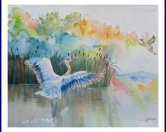Watercolor - HERONS, meeting