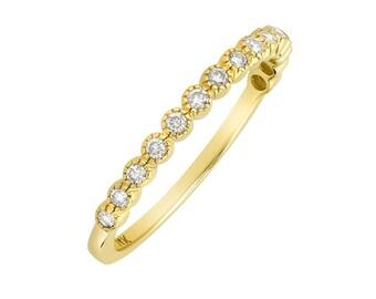 Women 2mm 14K Gold Wedding Band 0.18cttw Diamond Stackable Half Eternity Ring(GDR114Y)