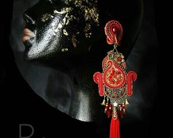 Soutache fringed earrings