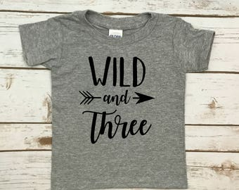 wild and three shirt, 3rd birthday, t shirt, boys shirt, girls shirt, wild and three, wild, 3rd birthday, third birthday shirt, shirt, 3rd