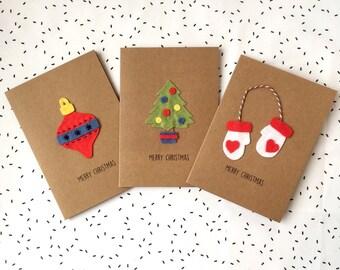 Merry Christmas - Cute Christmas Card - Felt Card - Christmas Tree - Bauble Decoration - Heart Mittens - Handmade Card