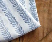 Block Print Fabric, Indigo Botanical Fabric | Hand block printed plant fabric, leaf pattern fabric, indigo blue leaf print on white cotton.