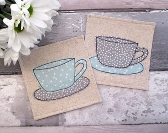 Coaster Set, Cup Coasters, Fabric Coasters, Housewarming Gift, Modern Decor, Hostess Gift, Beverage Coasters, Table Mats, Drink Coasters