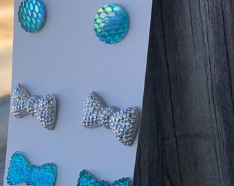 Mermaid stud earrings mermaid cabochon bows silver druzy charm bow earrings bow charms cabochon charms blue charms mothers day gift