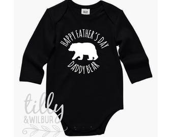Happy Father's Day Daddy Bear Bodysuit For Baby Boys, Daddy I Love You Onezie, Father's Day Outfit, 1st Father's Day, Best Daddy Ever