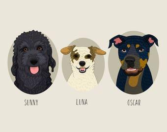 Pet portrait. Dog portrait. Dog replica. Custom pet portraits. Custom dog portrait. Quirky dog portrait. Cat portrait.
