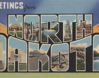 Greetings from North Dakota - Vintage Halftone (Art Print - Multiple Sizes Available)
