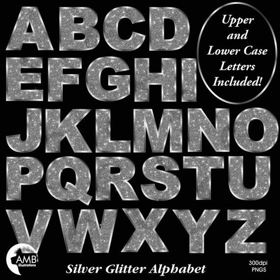 silver letter clipart silver glitter alphabet clipart