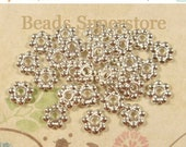 SALE 6 mm Silver-Plated Daisy Spacer - Nickel Free, Lead Free and Cadmium Free - 100 pcs (DS6S)