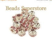 SALE 6 mm Light Rose Silver-Plated Brass Crystal Rhinestone Rondelle - Grade AAA - Nickel Free and Lead Free - 20 pcs