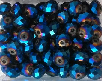 10 round faceted beads dark blue metallic reflection AB Crystal 6 * 8mm
