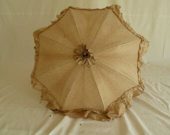 Original Edwardian parasol, umbrella, covered in beige cotton, with frill, Steampunk parasol, costume prop, themed wedding