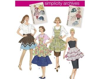 2592, Simplicity, Full Apron, Half Apron, Bib Apron,  1950's Retro Apron, Vintage Style, Retro Style, Vintage Remake, Reprint Pattern