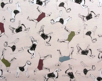 Jane Makower Inprint Pinky Beige Terrier Dogs Patchwork Quilting Sewing Dressmaking Fabric