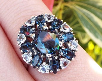 Vintage / Art Deco Sterling Silver Statement Blue and White Cluster Ring Size L