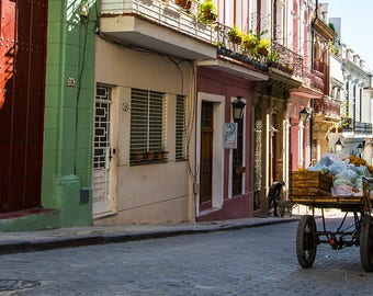 Fruit cart, Havana, Cuba, street, photography, caribbean, market, fruit, kitchen, decor, print
