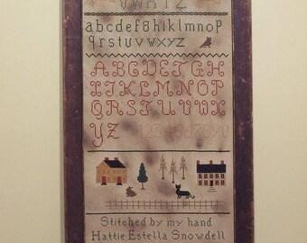 Primitive cross stitch, sampler chart/pattern,primitive needlework, schoolgirl sampler, early American , Hattie Estella Snowdell