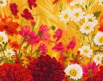 Stunning Dahlia Fabric Panel** C4479 ** Perfect for  Art Quilting /Thread Painting/Machine Embroidery/Embellishment/Hand Embroidery  etc....