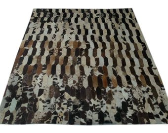 Handmade Cowhide Patchwork Rug - Beautiful Hair On Carpet - Luxurious Rug - R-10