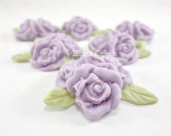 12 Lavender Fondant Flowers, Edible Cake Decoration, Cupcake Edible Flower Toppers, Sugar Roses Gumpaste, Spring Wedding Cake Decor greenery