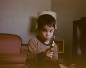 Vintage Anscochrome Photo Slide Boy Pointing Gun at Photographer 1960's, Original Found Photo, Vernacular Photography